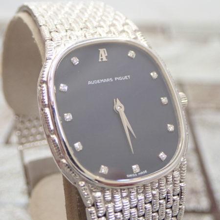 オーデマ・ピゲ 750WG 12P 二針 ダイヤモンド 金無垢 メンズ 腕時計 AUDEMARS PIGUET