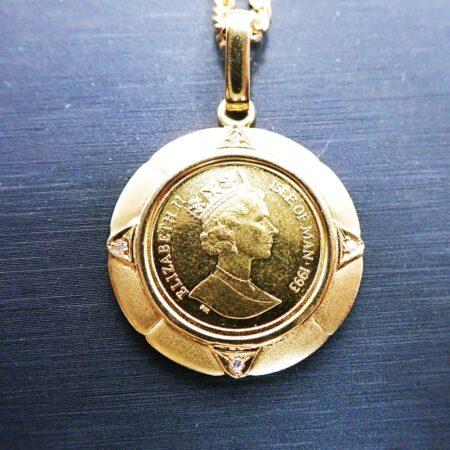 K24/K18 ゴールドコイントップ ペンダント マン島 キャット金貨 エリザベス2世 1/10オンス